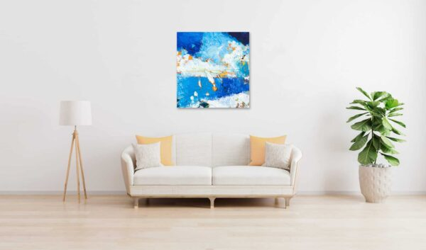 Acrylbild expressiv Blau Weiß wandbild