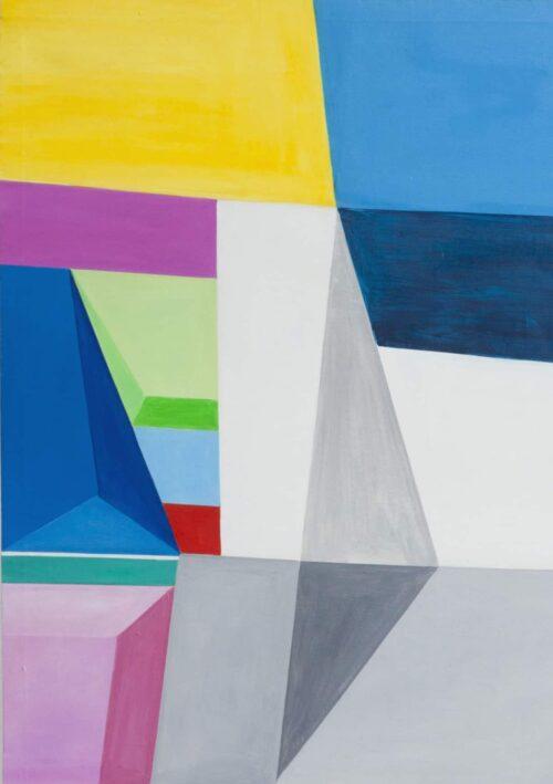 Acrylbild modern Bricks Grau Blau