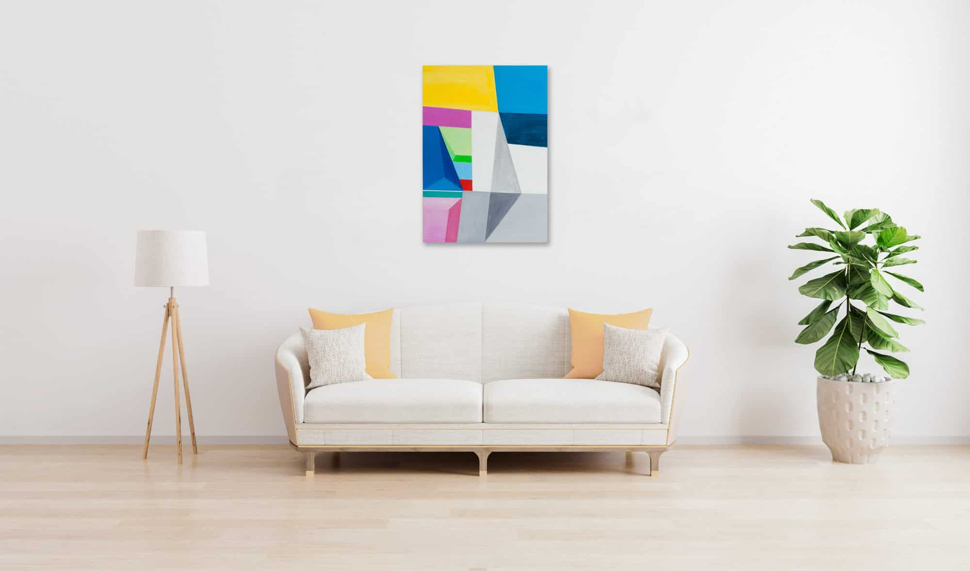 Acrylbild modern Bricks Grau Blau wandbild