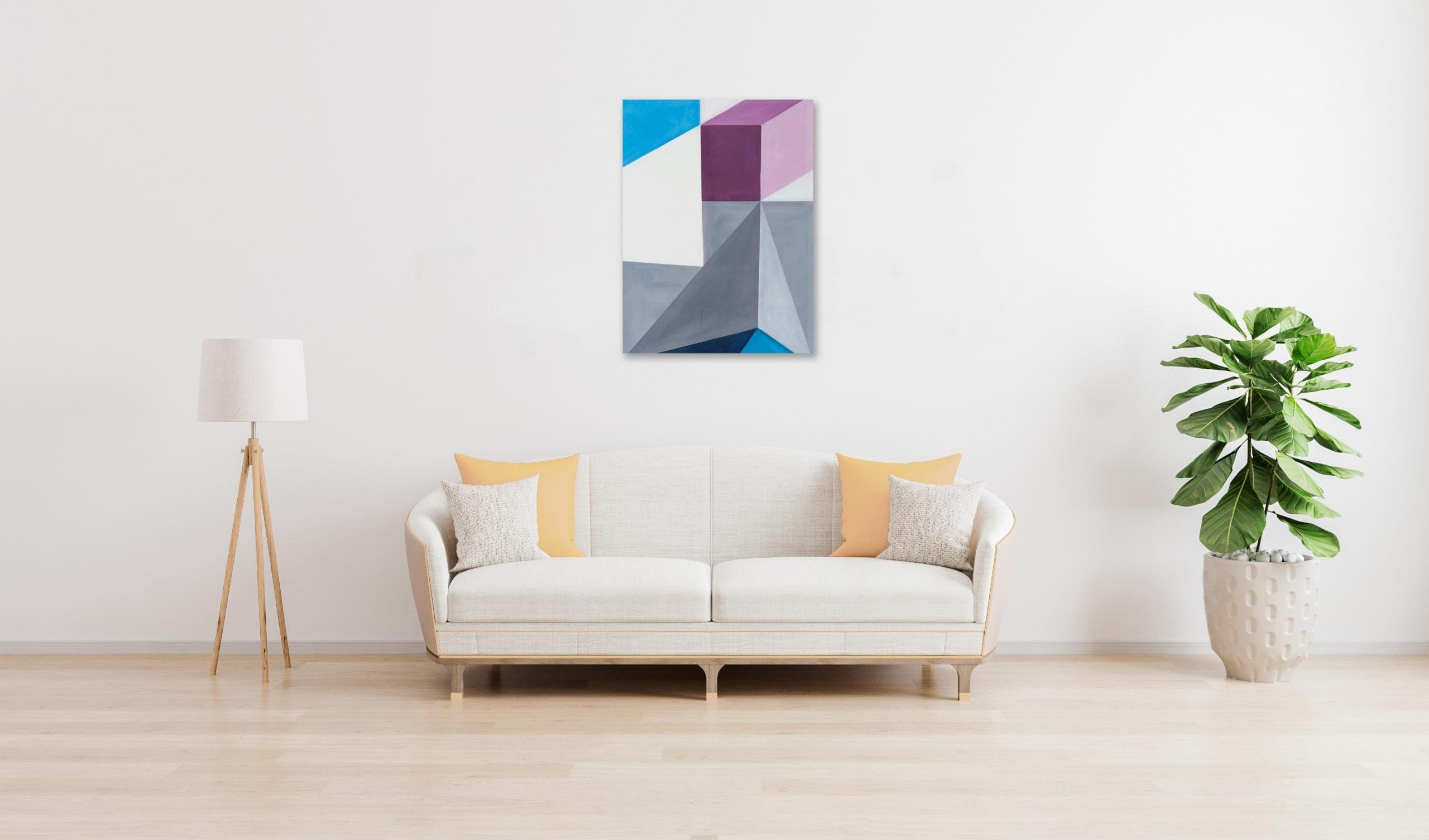 Acrylbild modern Bricks Grau Lila wandbild