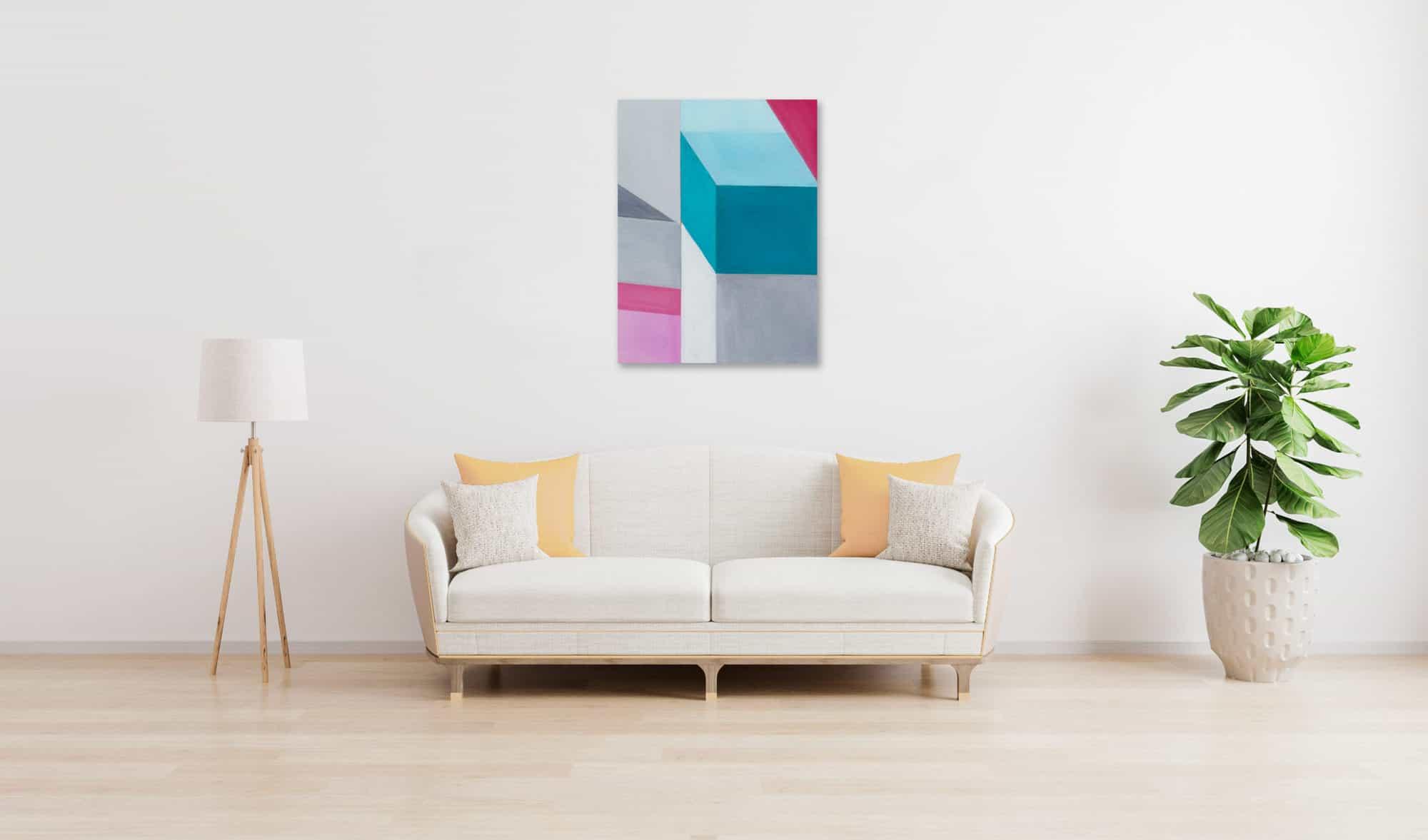 Acrylbild modern Bricks Grau Türkis wandbild