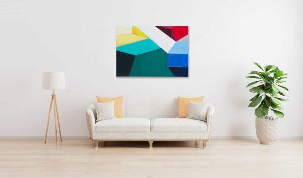 Acrylbild modern Bricks Grün Blau wandbild