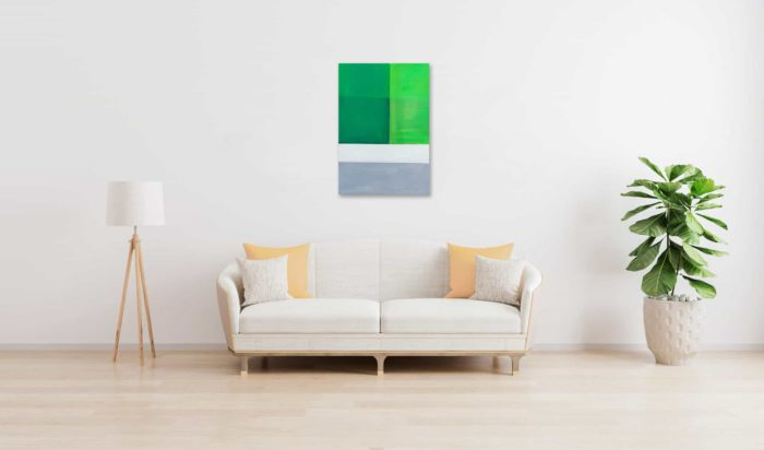 Acrylbild modern Bricks Weiß Grün wandbild
