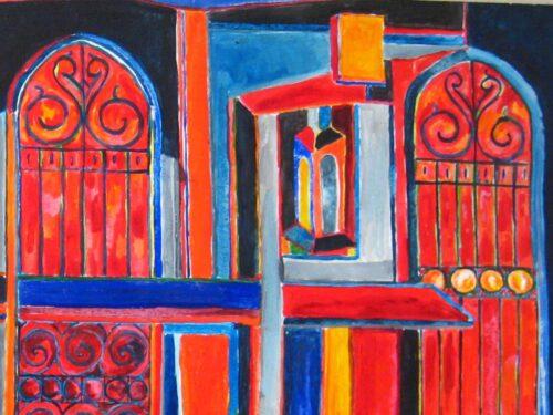 Modernes Acryl Gemälde abstrakte Konstruktion