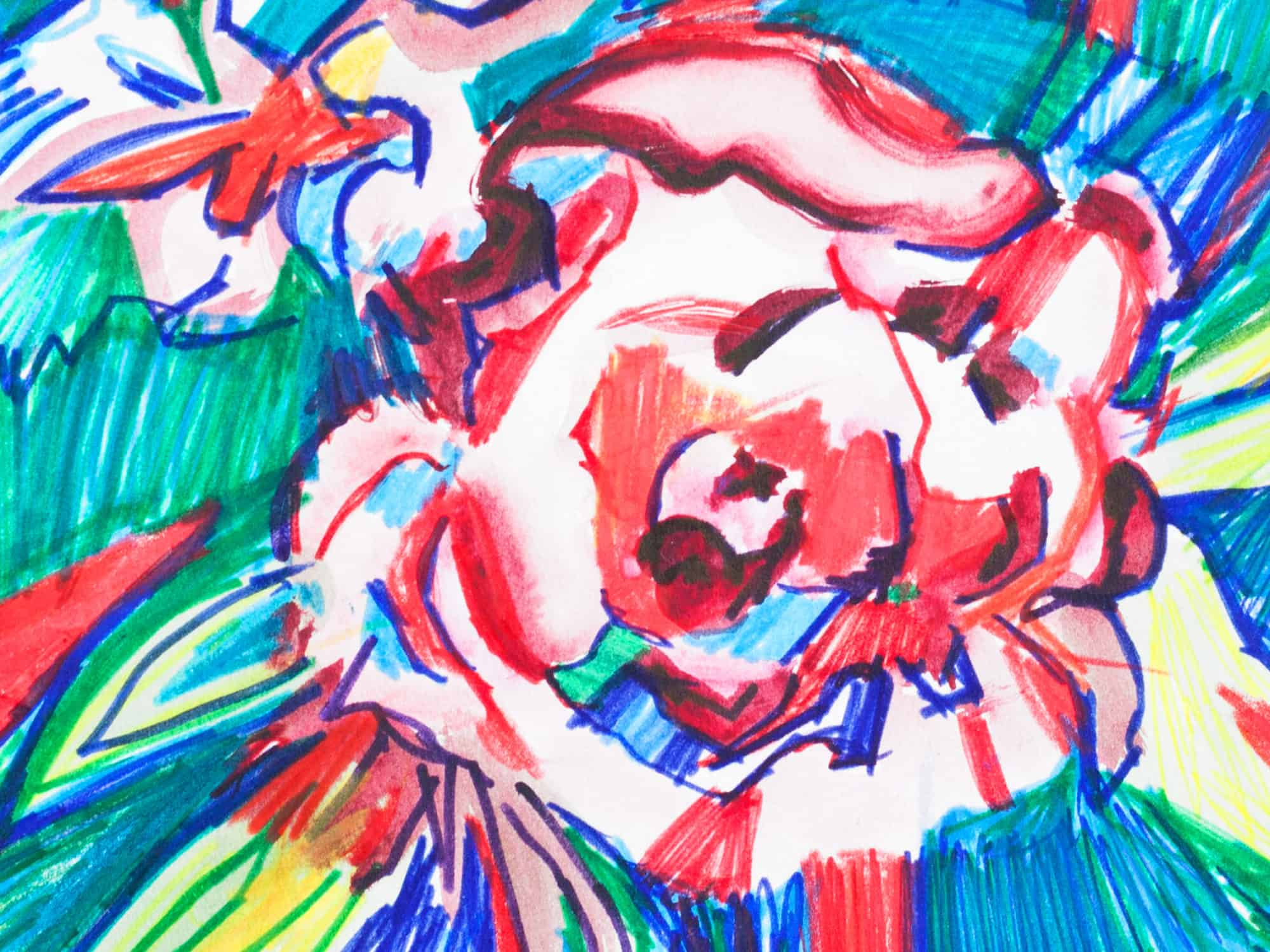 Modernes Acryl Gemälde abstrakte Blume