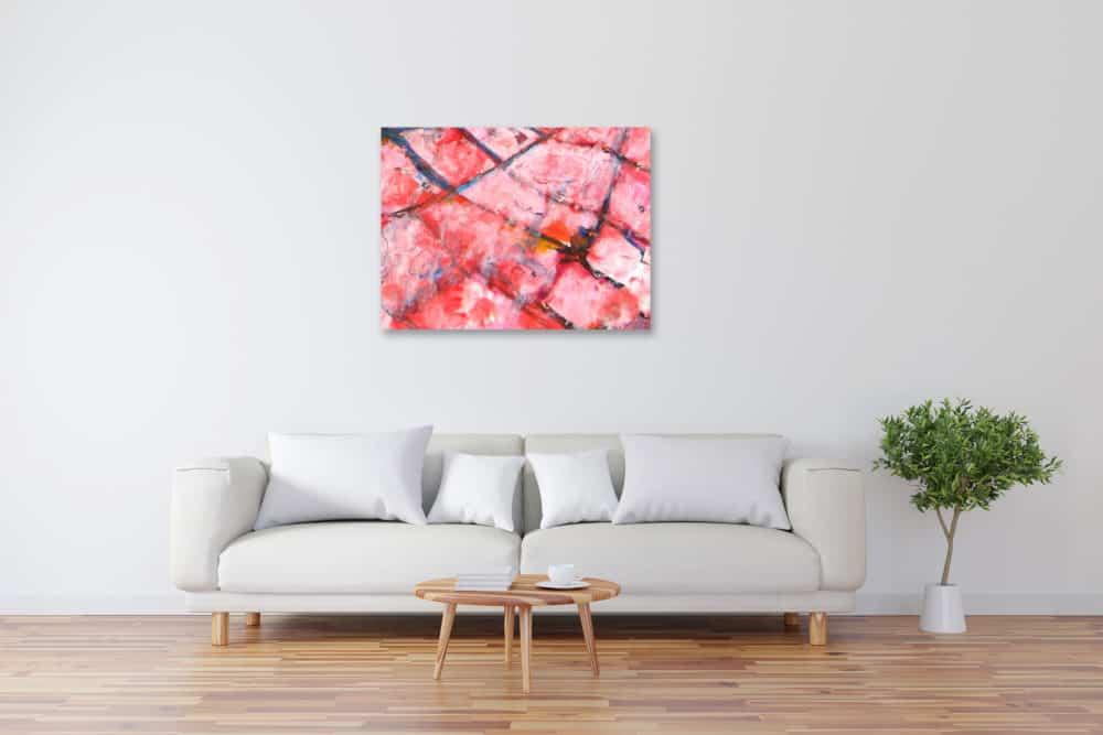 Modernes Acryl Gemälde abstrakte rosa Muster wandbilder