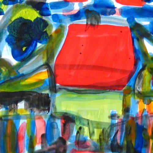 Modernes Acryl Gemälde abstraktes Haus