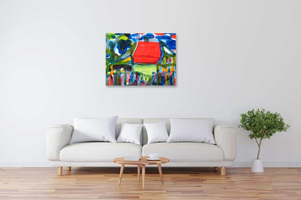 Modernes Acryl Gemälde abstraktes Haus wandbilder