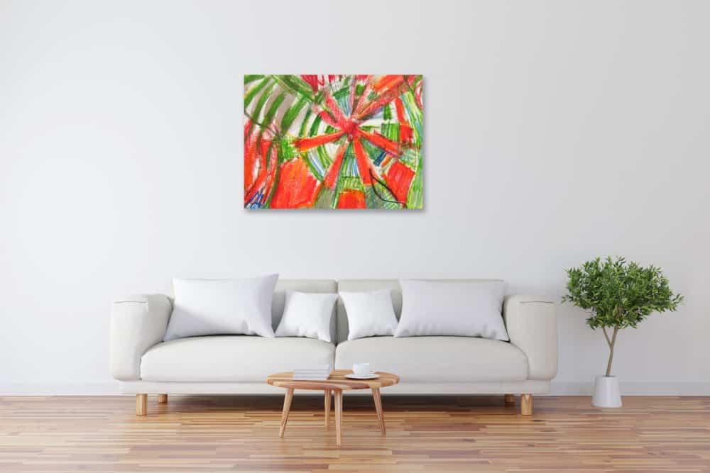 Modernes Acryl Gemälde abstraktes Sonnenrad wandbilder