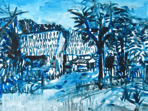 Modernes Acryl Gemälde blaue Landschaft