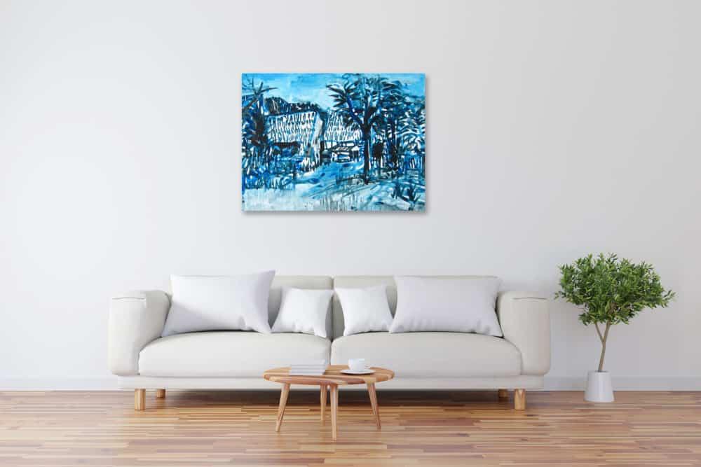 Modernes Acryl Gemälde blaue Landschaft wandbilder