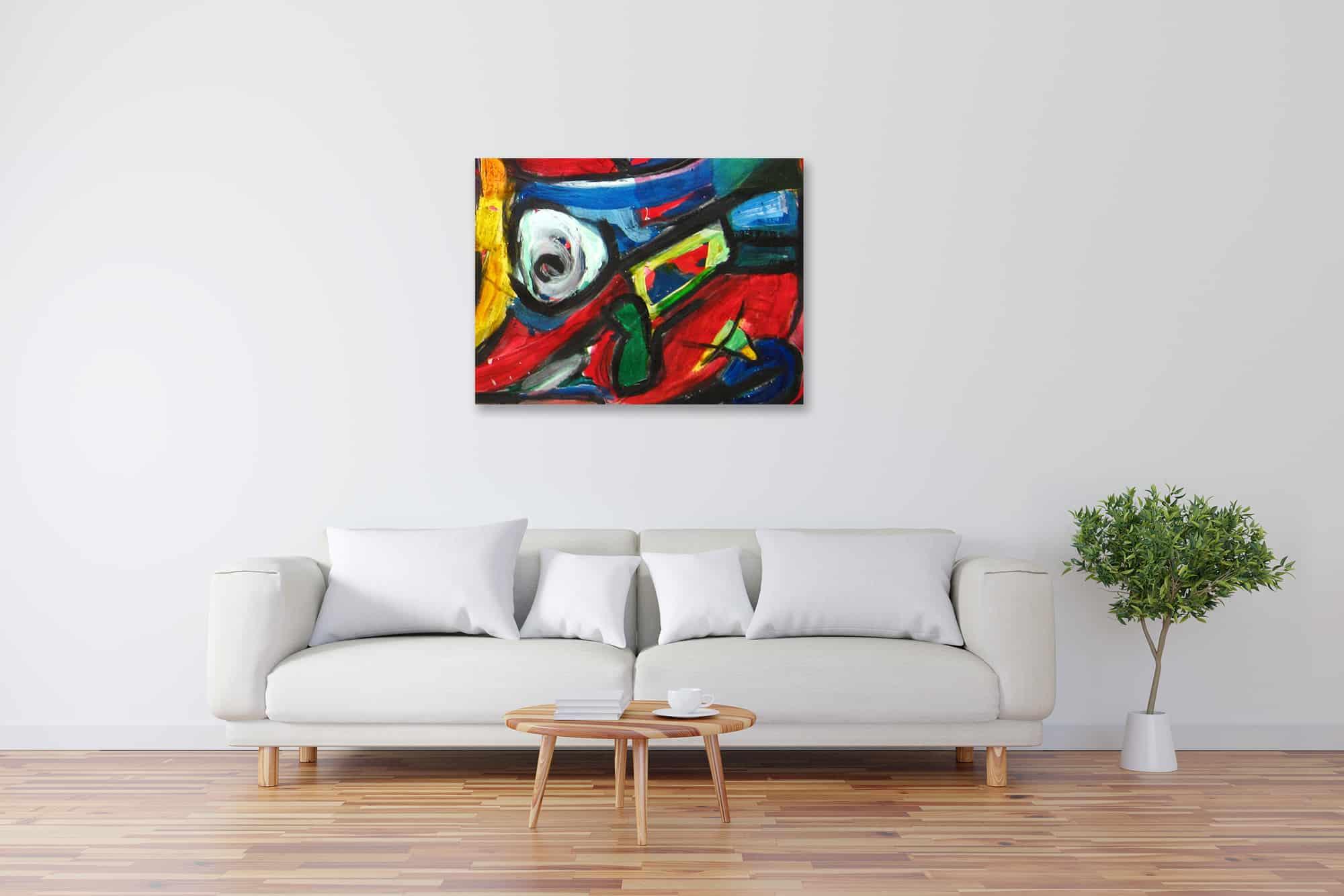 Modernes Acryl Gemälde expressive Formen wandbilder