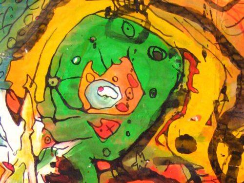 Modernes Acryl Gemälde grünes Wesen