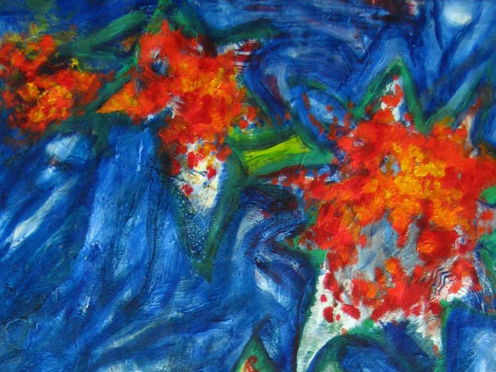 Modernes Acryl Gemälde rote Blumen mit Blau