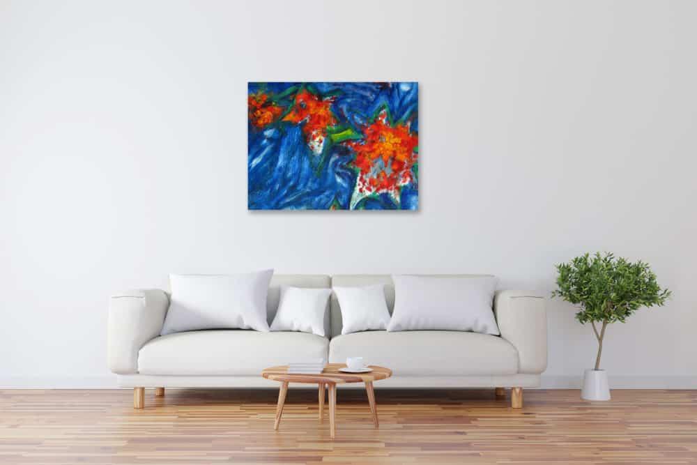 Modernes Acryl Gemälde rote Blumen mit Blau wandbilder