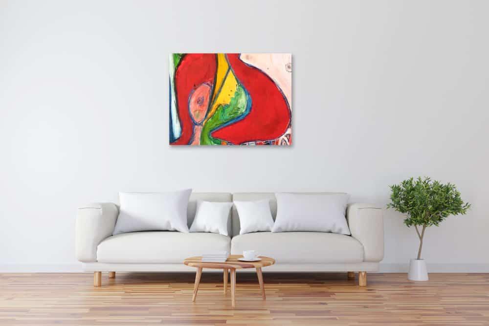 Modernes Acryl Gemälde roter Schwung wandbilder