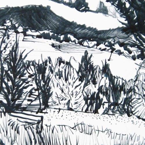 Modernes Acryl Gemälde Wald Zeichnung
