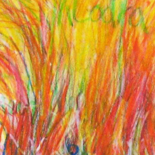 Modernes Acryl Gemälde abstrakt Gelb Rot