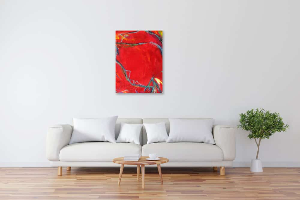 Modernes Acryl Gemälde abstrakt Rot wandbilder