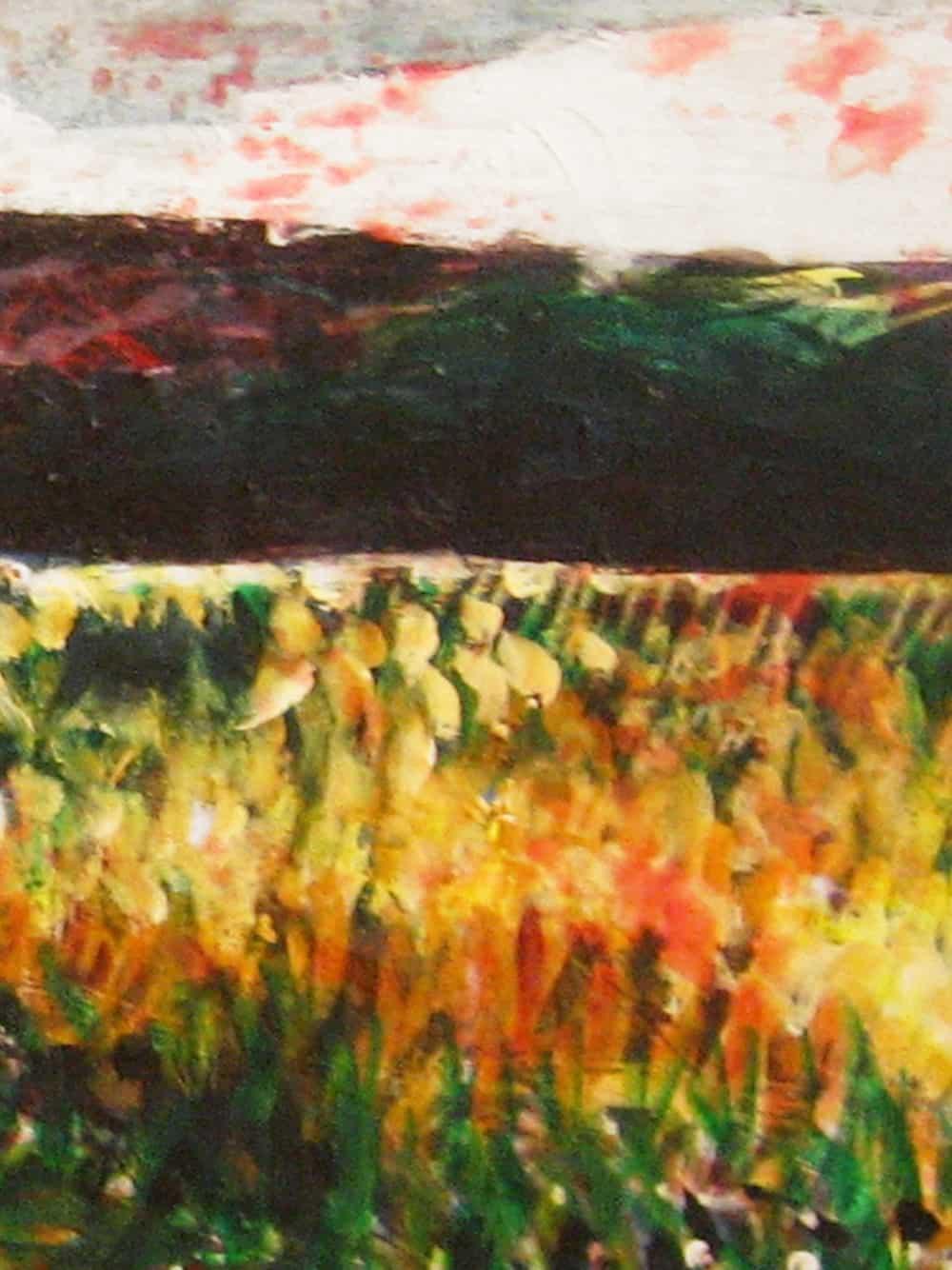 Modernes Acryl Gemälde abstrakte Landschaft mit Feld