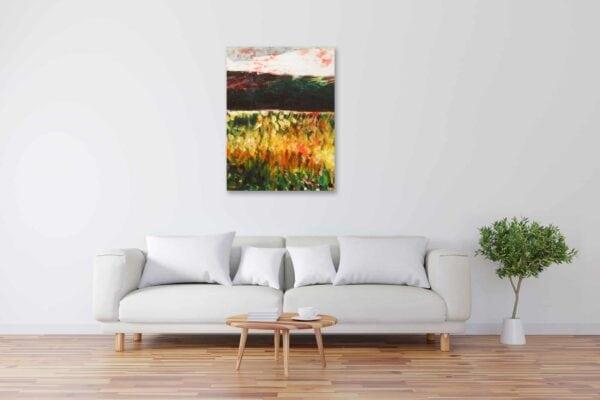 Modernes Acryl Gemälde abstrakte Landschaft mit Feld wandbilder