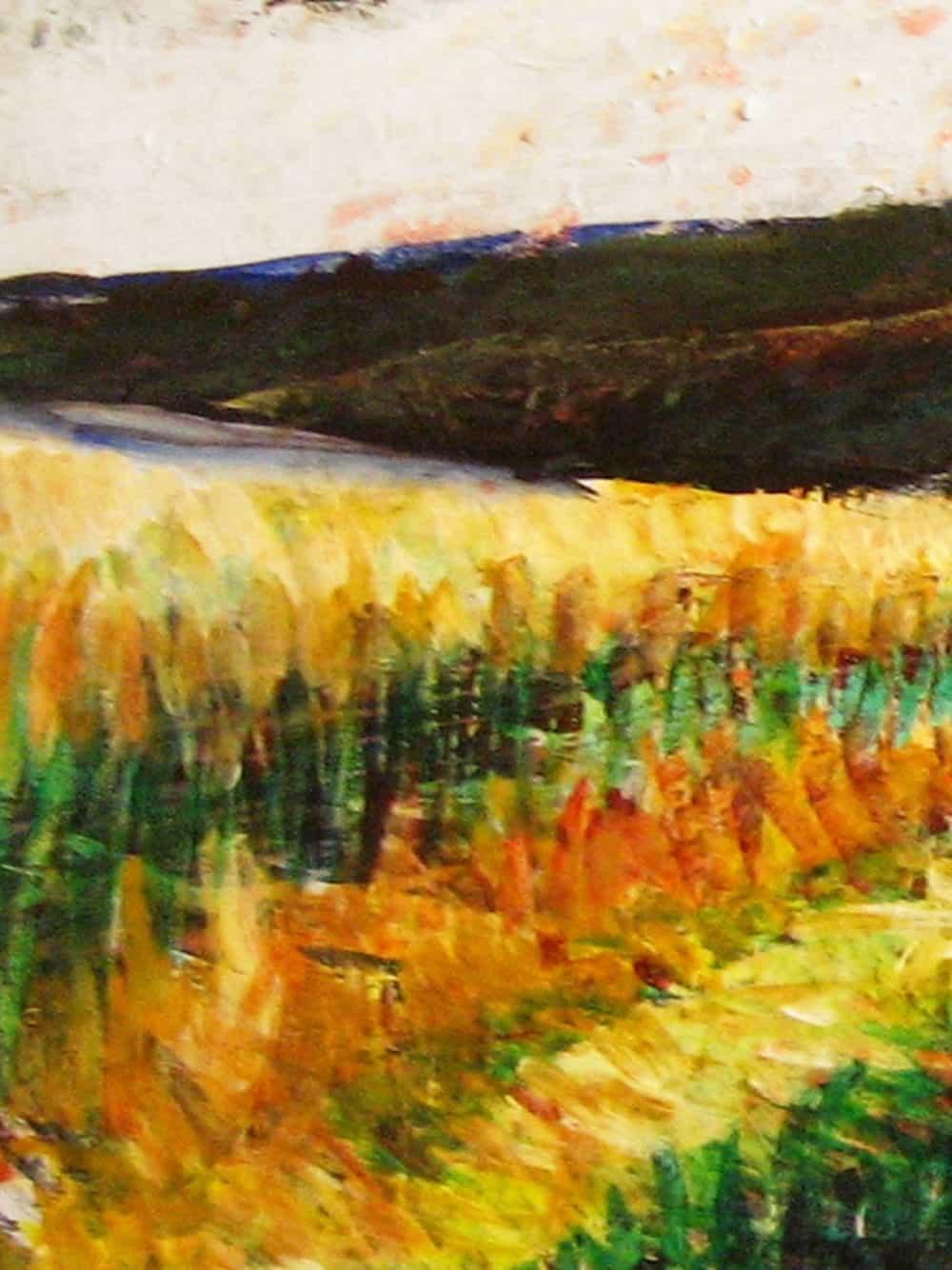 Modernes Acryl Gemälde abstrakte Landschaft mit Wald