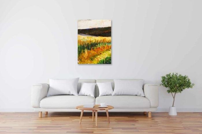 Modernes Acryl Gemälde abstrakte Landschaft mit Wald wandbilder