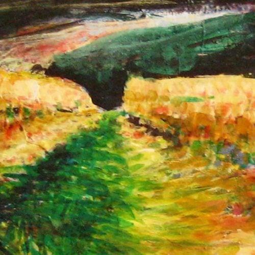 Modernes Acryl Gemälde abstrakte Landschaft mit Weg
