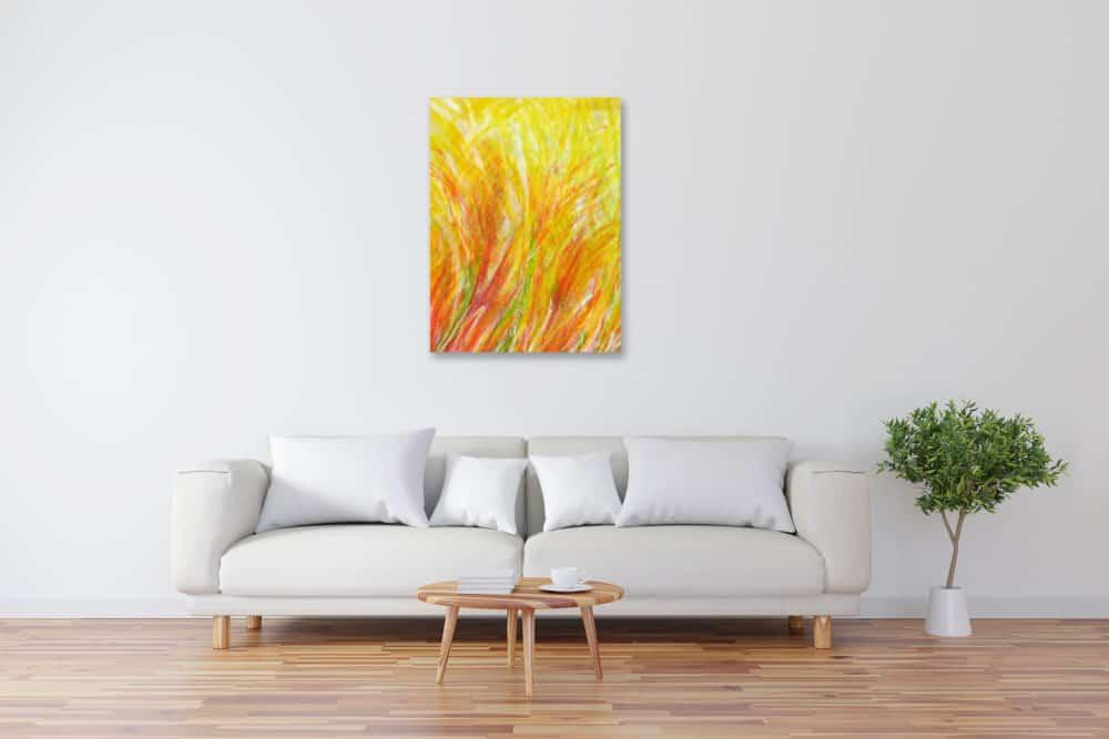 Modernes Acryl Gemälde abstrakte gelbe Phantasie wandbilder
