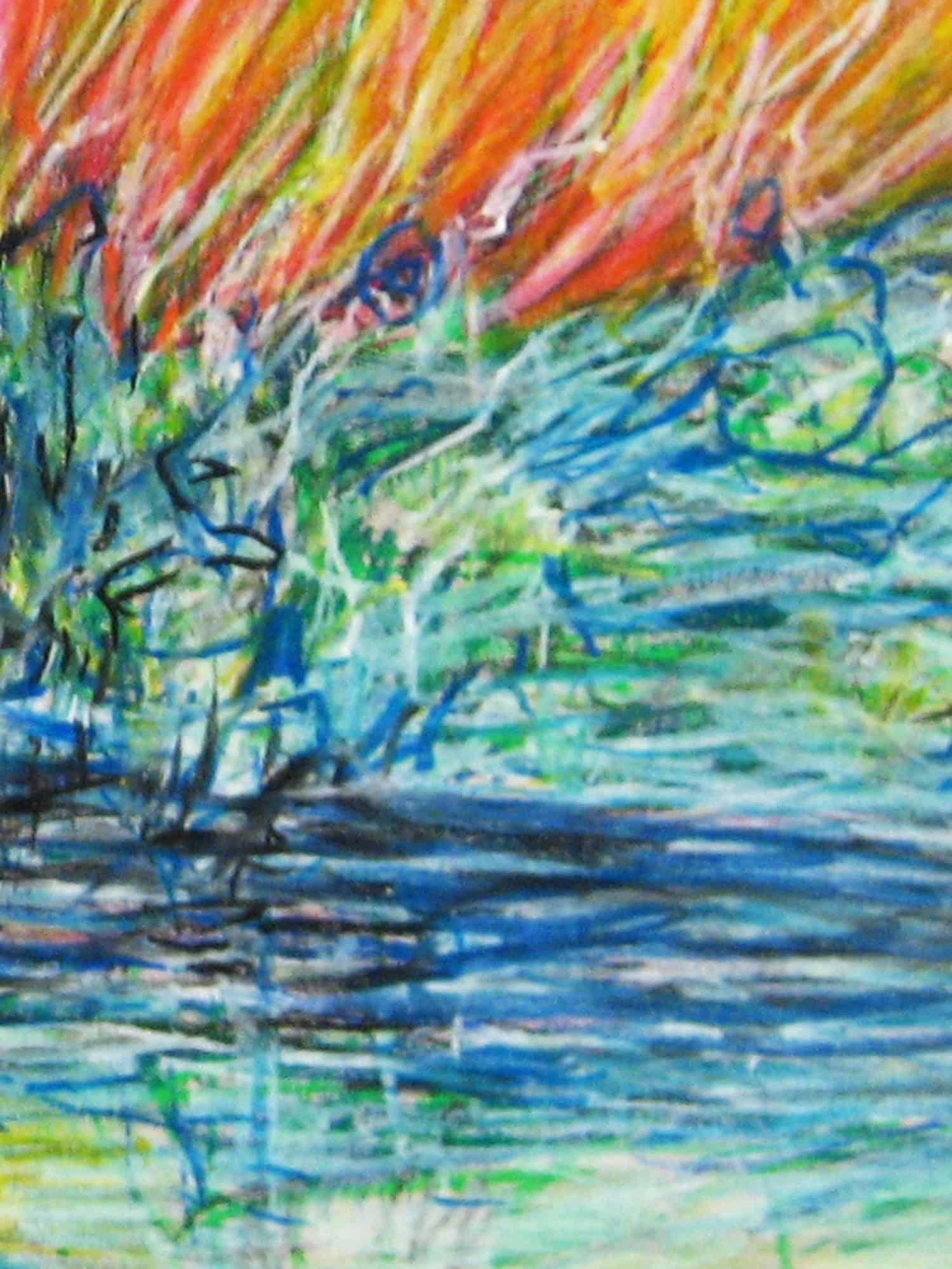 Modernes Acryl Gemälde abstraktes Licht mit Wasser