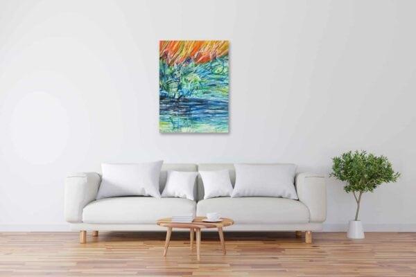 Modernes Acryl Gemälde abstraktes Licht mit Wasser wandbilder