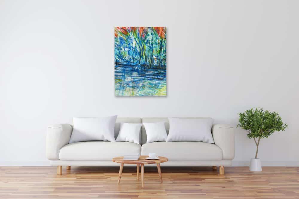 Modernes Acryl Gemälde abstraktes Licht und Wasser wandbilder