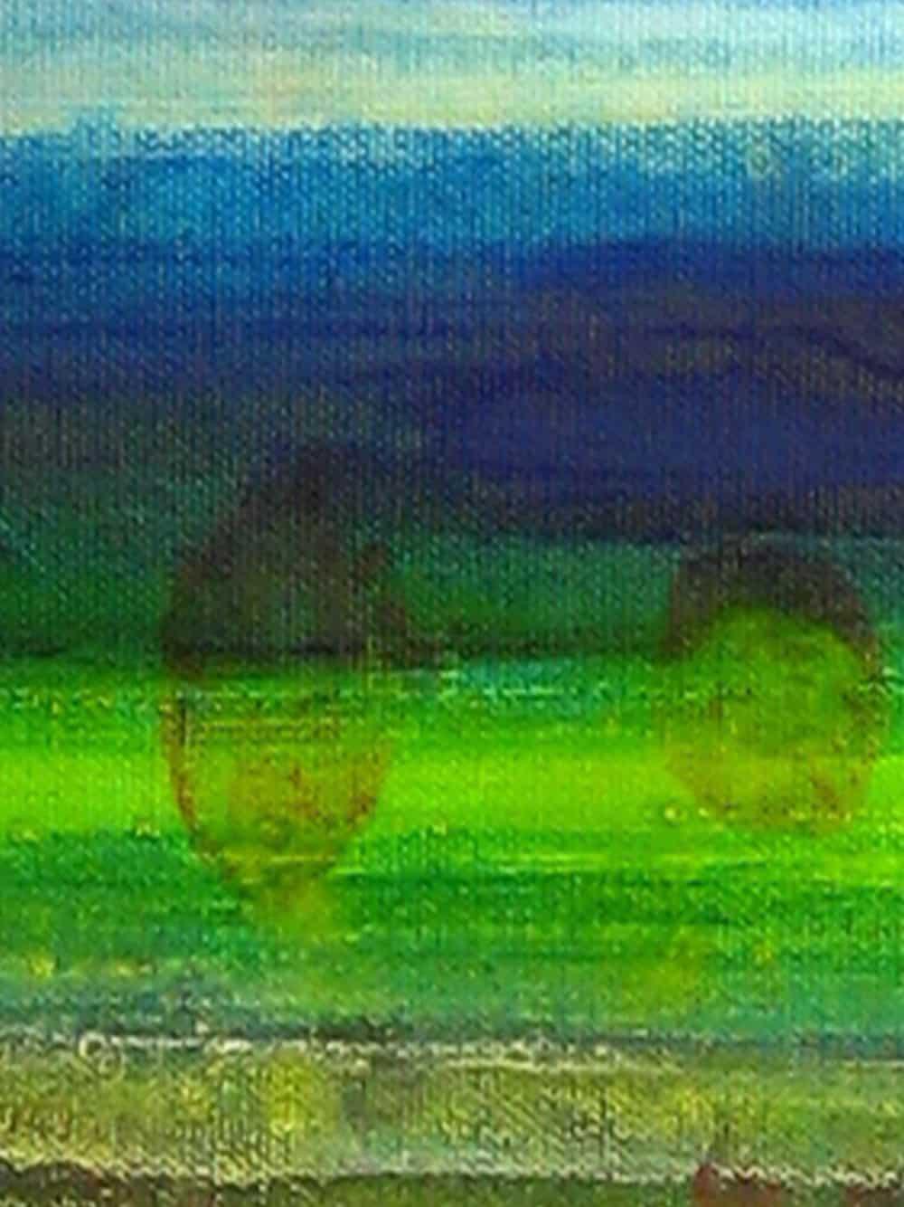 Modernes Acryl Gemälde abstraktes Wasserspiel Grün