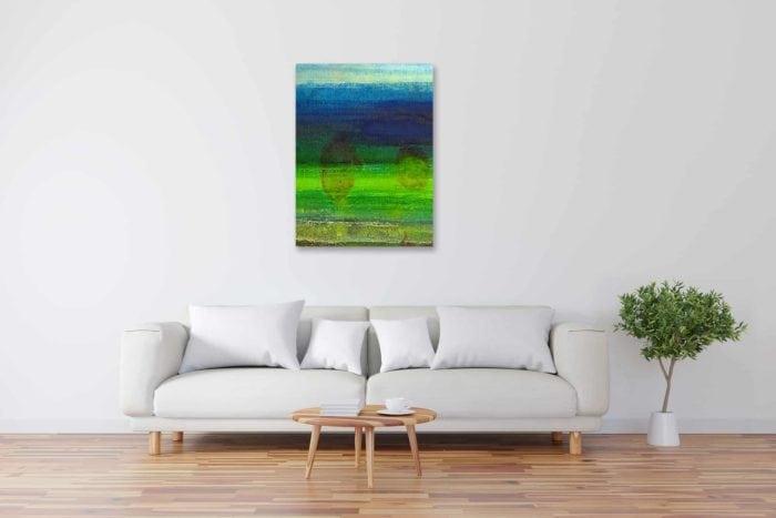 Modernes Acryl Gemälde abstraktes Wasserspiel Grün wandbilder