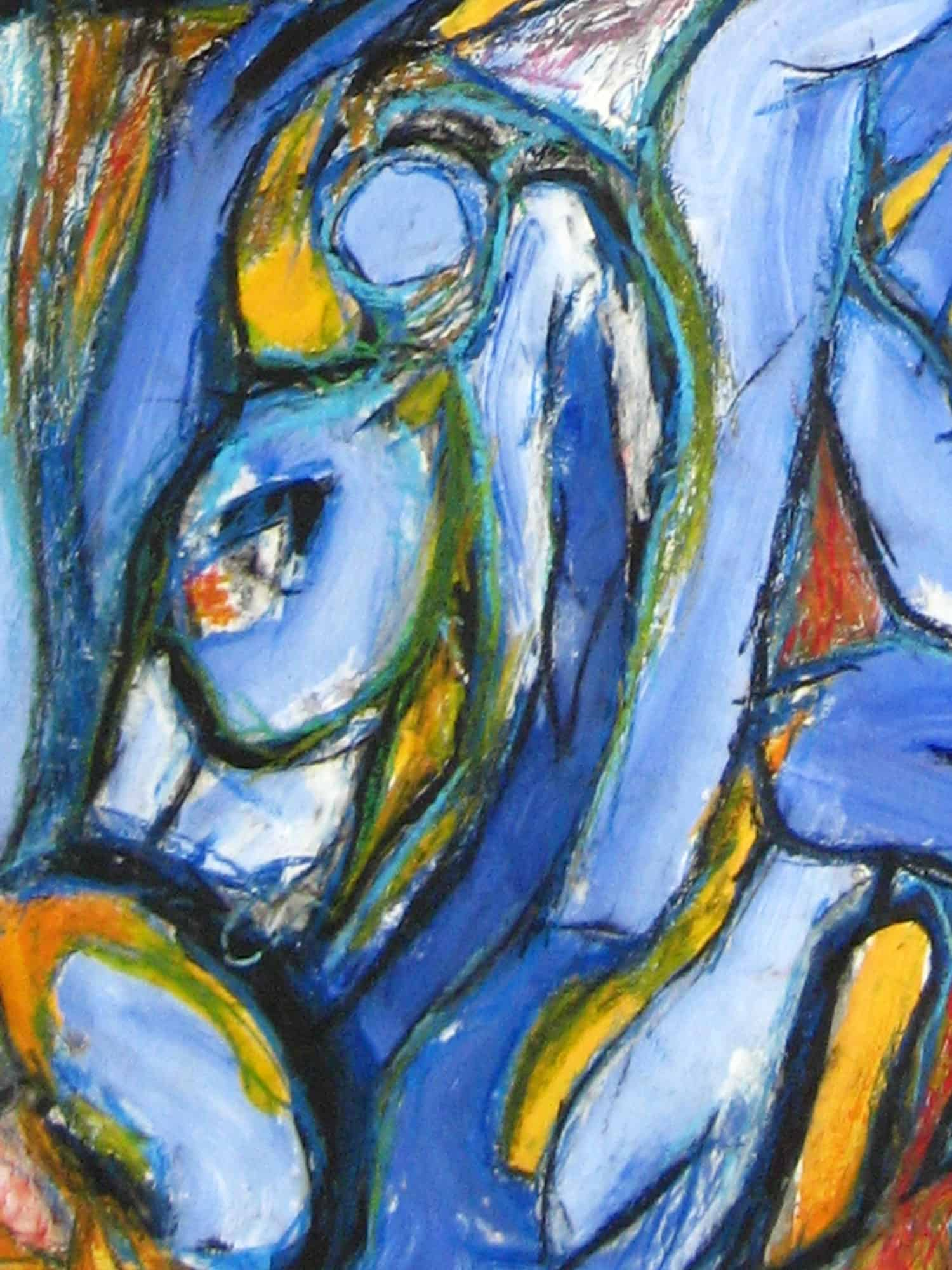 Modernes Acryl Gemälde Blau Gelb Abstrakt