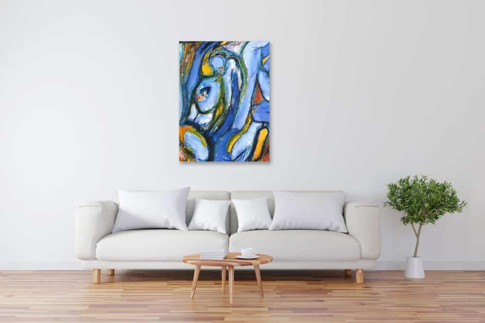 Modernes Acryl Gemälde Blau Gelb Abstrakt wandbilder