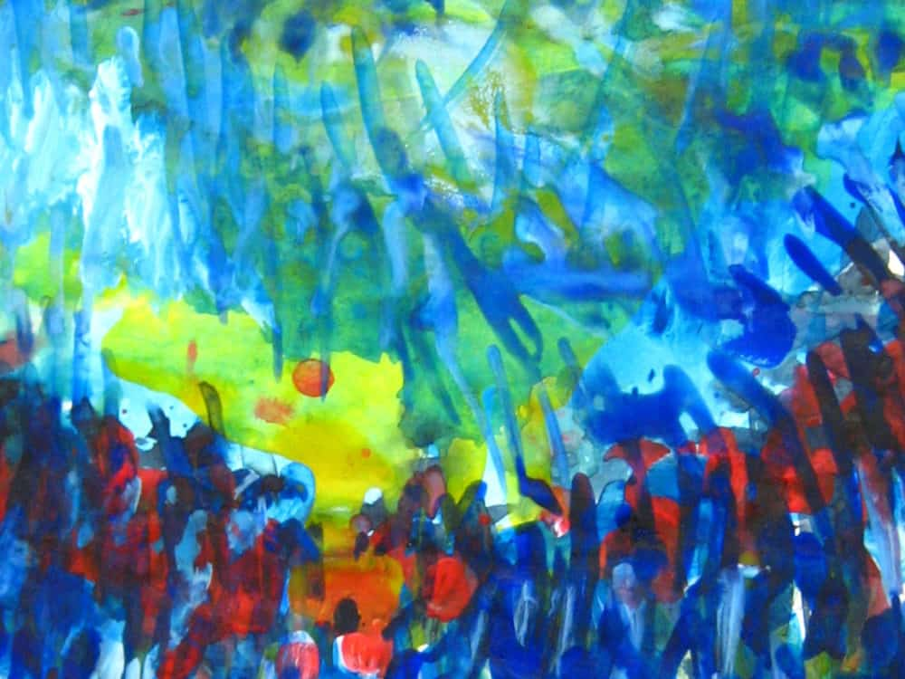 Modernes Kunstbild Acryl auf Leinwand Blau
