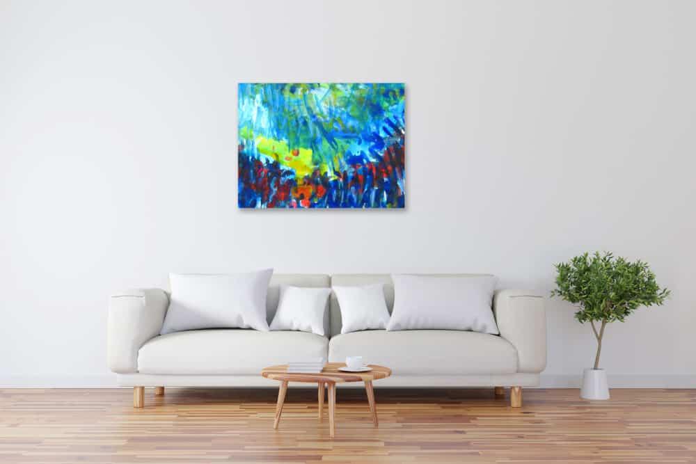 Modernes Kunstbild Acryl auf Leinwand Blau künstler