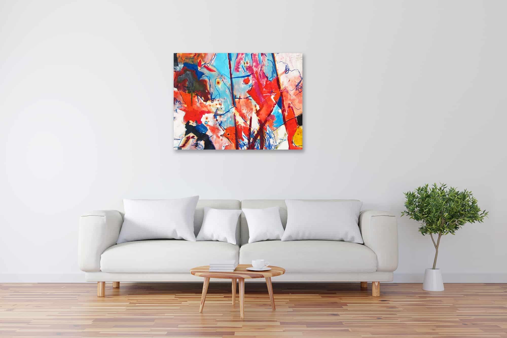 Modernes Kunstbild Acryl auf Leinwand Blau Rot künstler