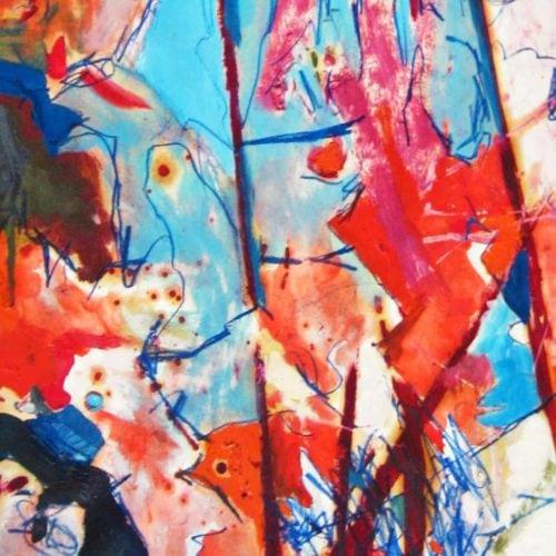 Modernes Kunstbild Acryl auf Leinwand Blau Rot