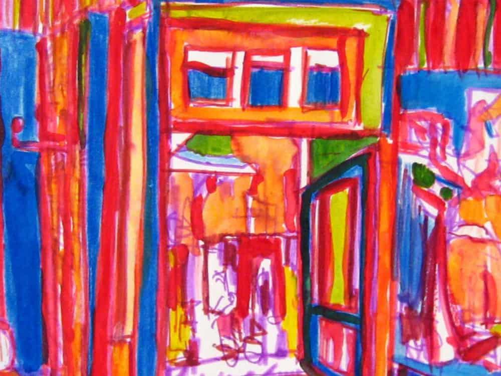 Modernes Kunstbild Acryl auf Leinwand Cafe