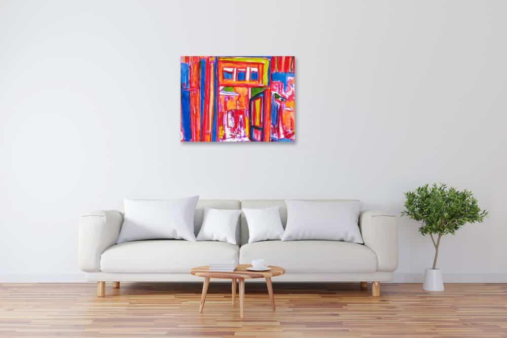 Modernes Kunstbild Acryl auf Leinwand Cafe künstler