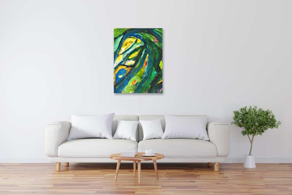 Modernes Kunstbild Acryl auf Leinwand Grün künstler