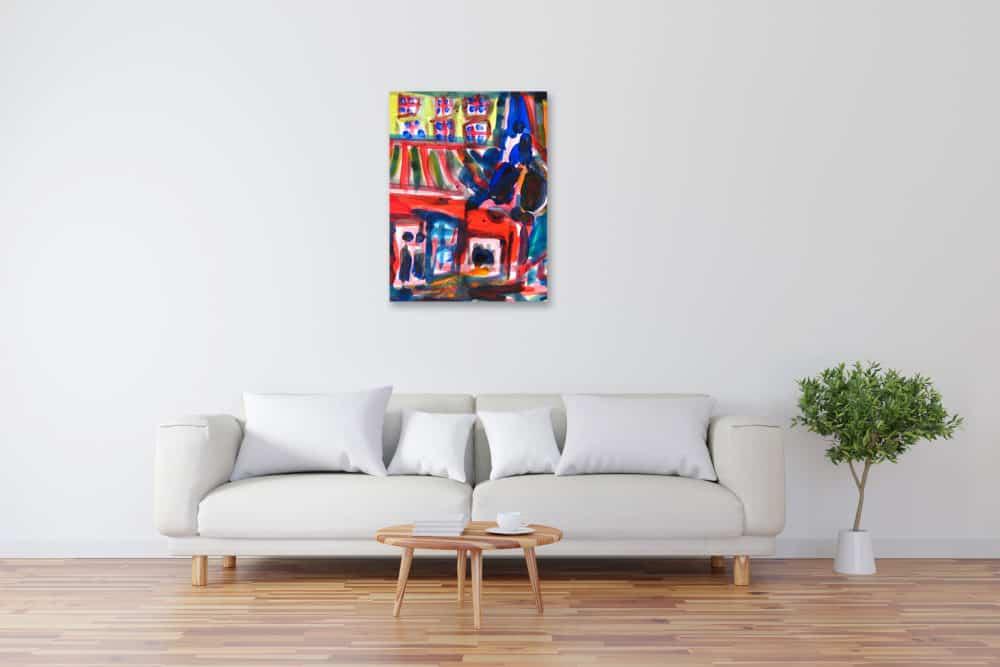 Modernes Kunstbild Acryl auf Leinwand Haus künstler