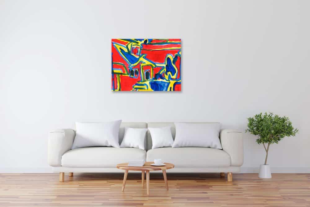 Modernes Kunstbild Acryl auf Leinwand Leuchtformen künstler