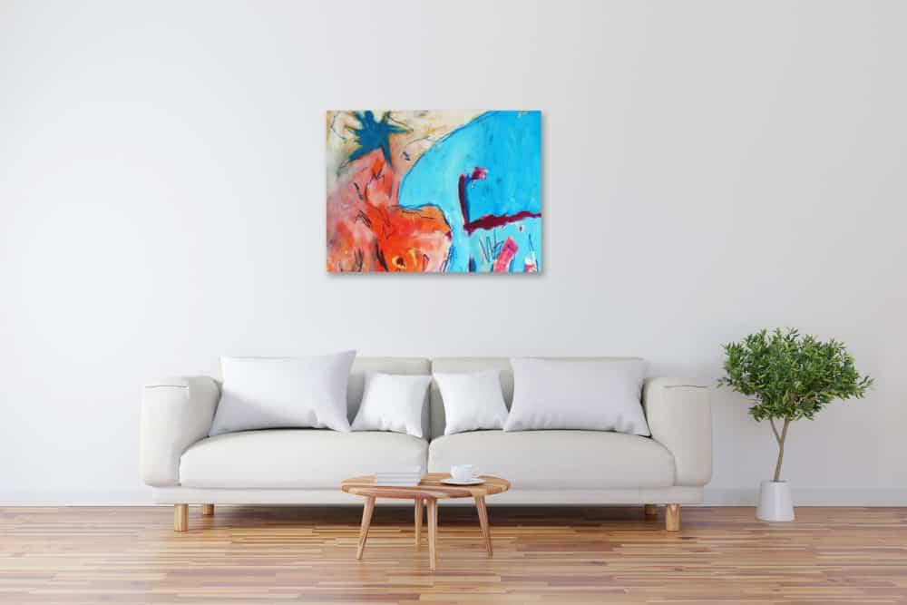 Modernes Kunstbild Acryl auf Leinwand mit Blau künstler