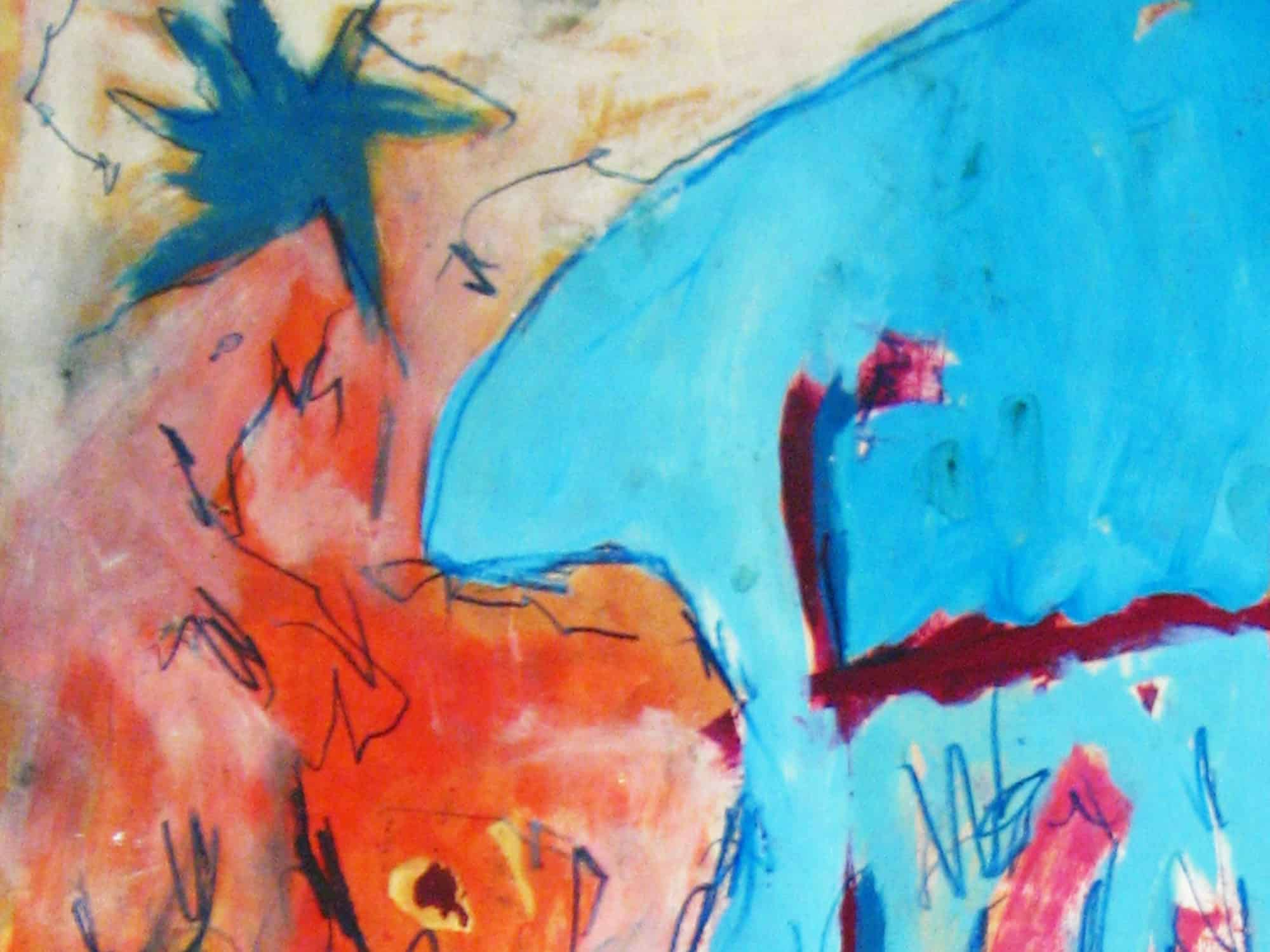 Modernes Kunstbild Acryl auf Leinwand mit Blau