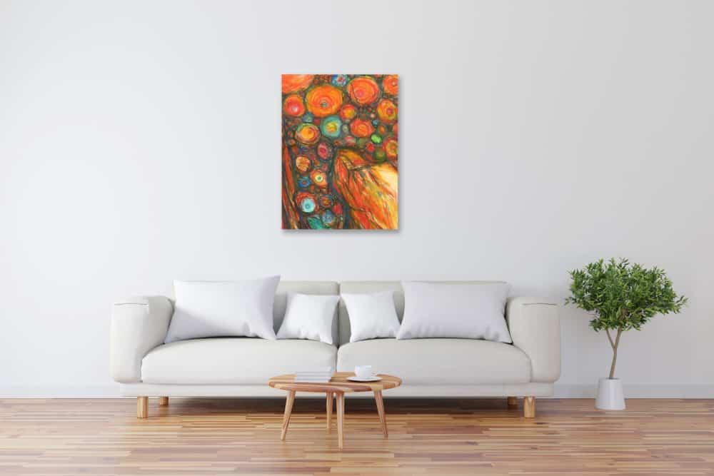 Modernes Kunstbild Acryl auf Leinwand Punkte künstler