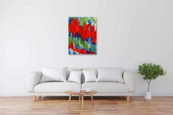 Modernes Kunstbild Acryl auf Leinwand Rot künstler