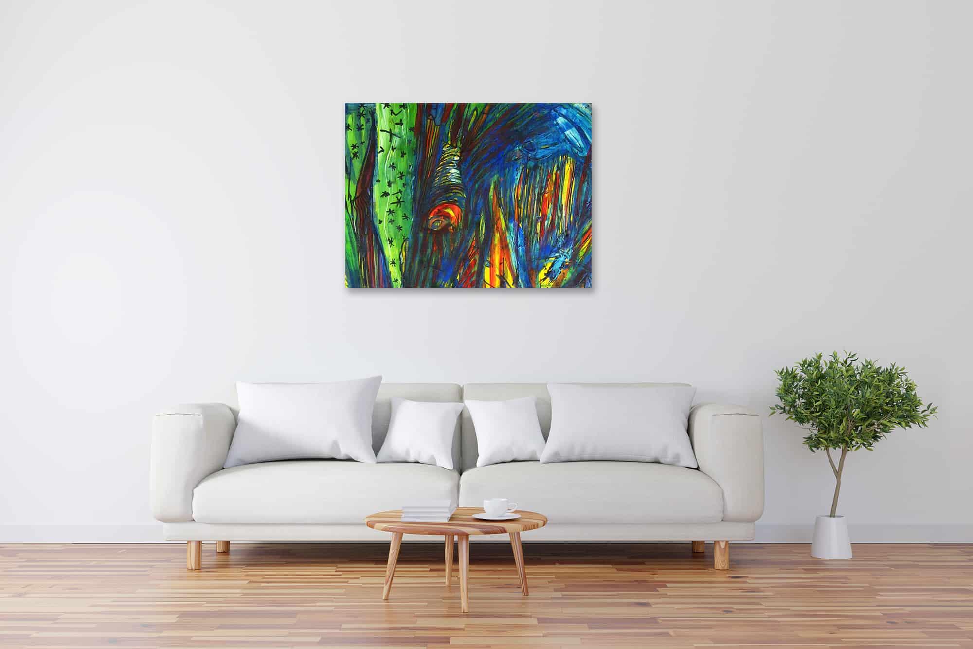 Modernes Kunstbild Acryl auf Leinwand Strom künstler